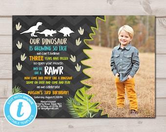 Dinosaur Birthday Invitation Dig Party Prehistoric Boy Dino Photo Instant Download Printable Template Editable Templett 0043