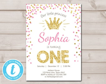 First birthday invitation etsy little princess first birthday invitation one pink gold confetti crown instant download printable template digital editable templett 0047 filmwisefo