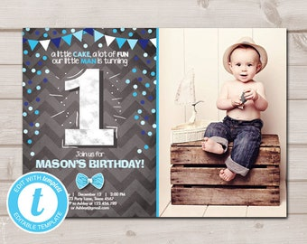 1st Birthday Invitations Boy Etsy