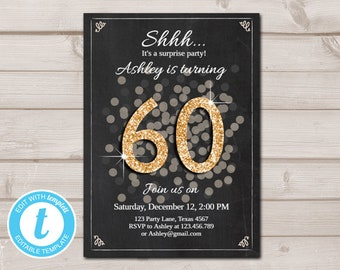 Invitations For 60th Birthday Party Templates Etsy