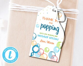 Bubbles Favor Tags Birthday Thank You Popping Over Labels Bubble Gift Boy Blue Editable Templett Template PRINTABLE 0035