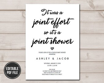 Coed baby shower etsy couples baby shower invitation coed baby shower joint funny elegant white neutral instant download printable template digital editable pdf filmwisefo