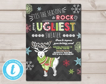 christmas ugly sweater party invitation christmas sweater invitation ugliest deer download printable invitation template editable 0053 - Ugly Christmas Sweater Door Decoration Ideas