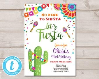 Fiesta Invitation Template Etsy