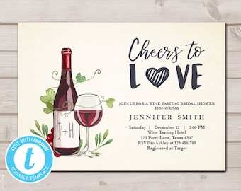 cbe076f70e63 Wine Tasting Bridal Shower invitation Rustic Winery Cheers To Love Country  Couples Download Printable Template Editable Digital 0234