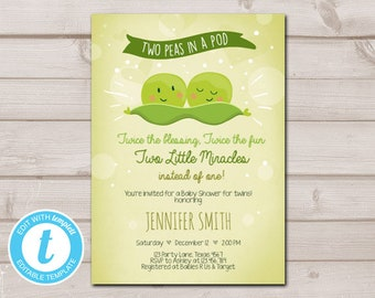 Two peas in a pod baby shower etsy twin baby shower invitation two peas in a pod baby shower green neutral editable templett invitation template instant download digital 0020 filmwisefo