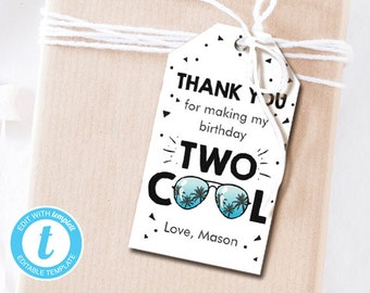 Two Cool Favor Tags Birthday Thank You 2nd Boy Im This Many Gift Blue Editable Templett Template PRINTABLE 0136