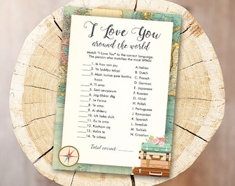 8d83b655fb3 Travel Bridal Shower Game I Love You Around the World Wedding Shower  Activity Map Bachelorette Party Game Instant Download PRINTABLE 0044