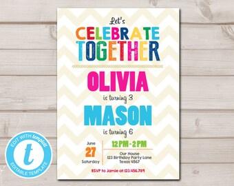 Joint Twin Birthday Invitation Twins Party Dual Double Rainbow Printable Template Editable Templett 0087