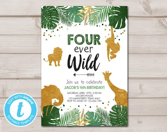 Fourever Wild Birthday Invitation Animals Invite Party Jungle Safari Boy 4th Download Printable Template Editable Templett 0016