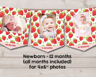 Strawberry First Birthday Banner Monthly Photo Berry Sweet 1st Decor Girl PRINTABLE Digital 0091