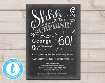 surprise 60th birthday invitations etsy