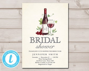 63a99875dfe9 Wine Tasting Bridal Shower invitation Rustic Winery Invitation Country Barn  Shower Download Printable Template Editable Templett 0234