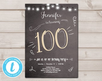 100th Birthday Invitation Chalkboard Rustic Adult Hundred Download Printable Template Editable Templett 0230
