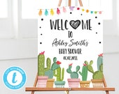Fiesta Welcome Sign Baby Shower Welcome sign Cactus Mexican Succulent Taco Bout a Baby Shower Sign Editable Templett Template PRINTABLE 0254