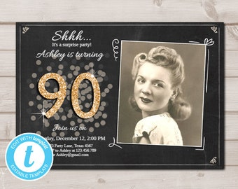 picture regarding Free Printable 90th Birthday Invitations identified as 90th birthday invites Etsy