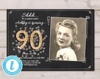 picture regarding Free Printable 90th Birthday Invitations identified as 90th birthday invites Etsy