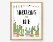 Fiesta Bar Sign Margaritas and Beer Fiesta Bridal Shower Baby Shower Decor Cactus Drink Table Drinks Sign Instant Download PRINTABLE 0254