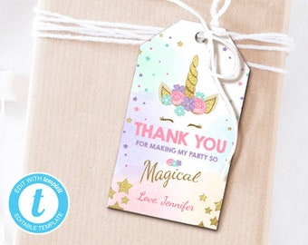 Unicorn Favor Tags Birthday Thank You Label Magical Gift Rainbow Pink Gold Template Editable PRINTABLE 0041