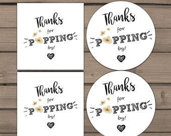 image about Thanks for Popping by Free Printable identified as Popcorn want tag Etsy
