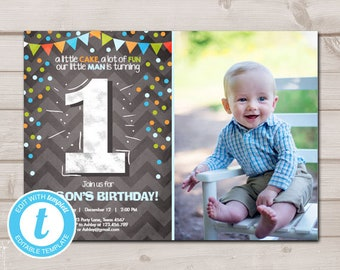 First Birthday Invitation Boy One Green Blue Chalk Confetti 1st Download Printable Template Editable Templett 0071