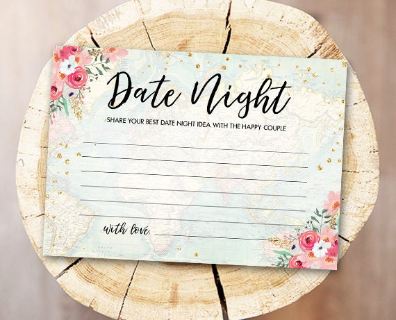 Date Night Ideas Bridal Shower Game Date Night Idea Card Date Jar Party Game Shower Activities Floral Pink Travel Download Printable 0030 By Design My Party Studio Catch My Party