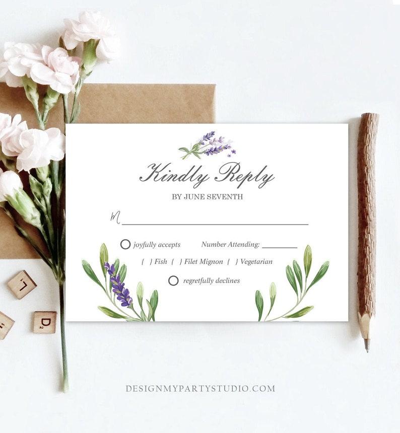 Editable Lavender RSVP Card Wedding Kindly Reply Response Card Greenery Foliage Boho Lilac Blush Purple Corjl Template Printable 0206