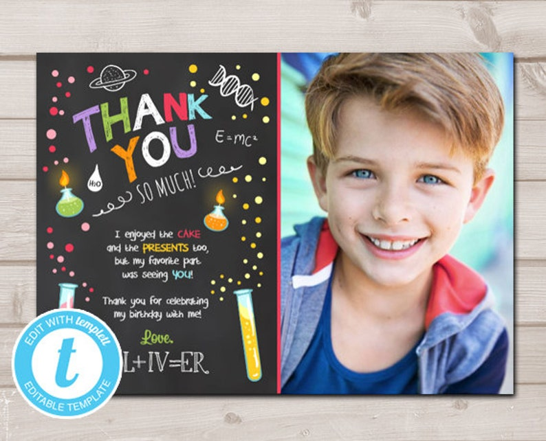Science Thank You Card Experiment Birthday Party Boy Experiment Science Lab Blue Printable Thank You Template Editable Templett 0094