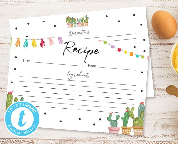 photograph about Free Printable Recipe Cards for Bridal Shower known as Recipe Playing cards Fiesta Cactus Fiesta Bridal Shower Succulent
