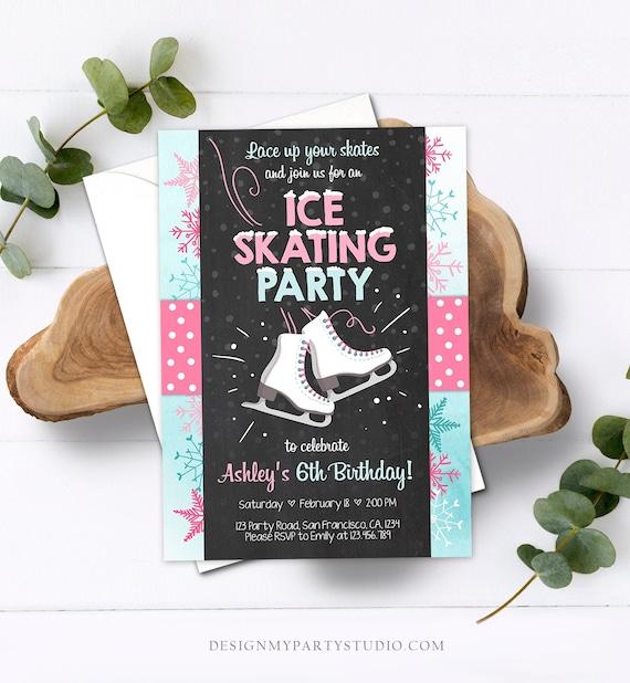 editable ice skating invitation ice