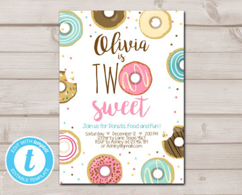 Two Sweet Donut Birthday Invitation 2nd Girl Doughnut Second Printable Template Editable Templett Digital 0050