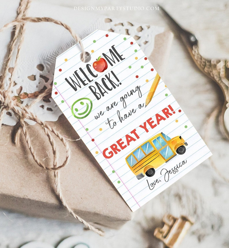 Editable Welcome Back to School Tag Happy First Day of School image 0
