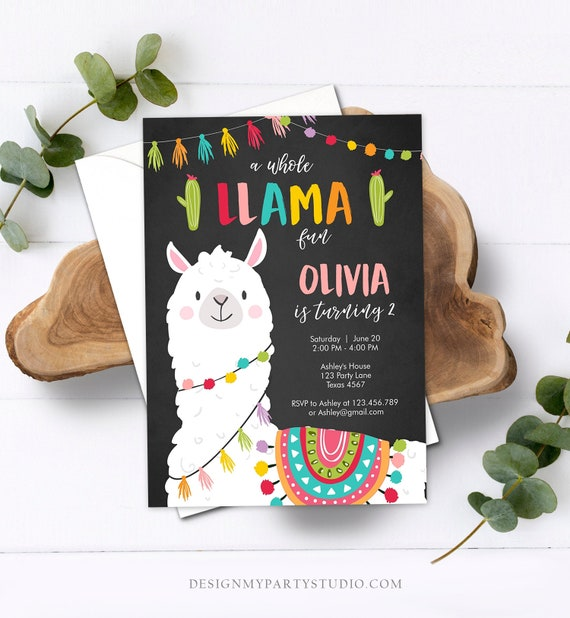 Whole Llama Fun CORJL Template EDITABLE Invitation Cactus Fiesta Design 19011C EDITABLE Llama Birthday Invitation Template Alpaca
