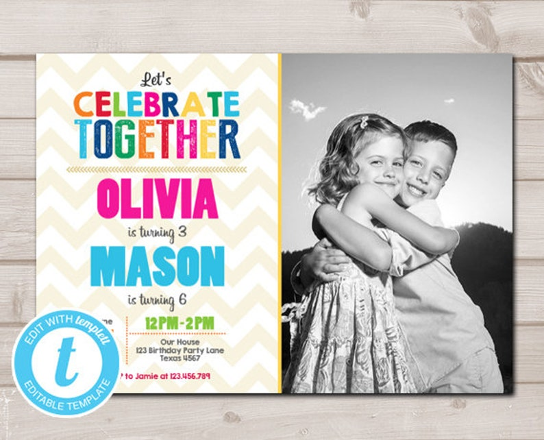Joint Twin Birthday Invitation Twins Party Dual Image 0
