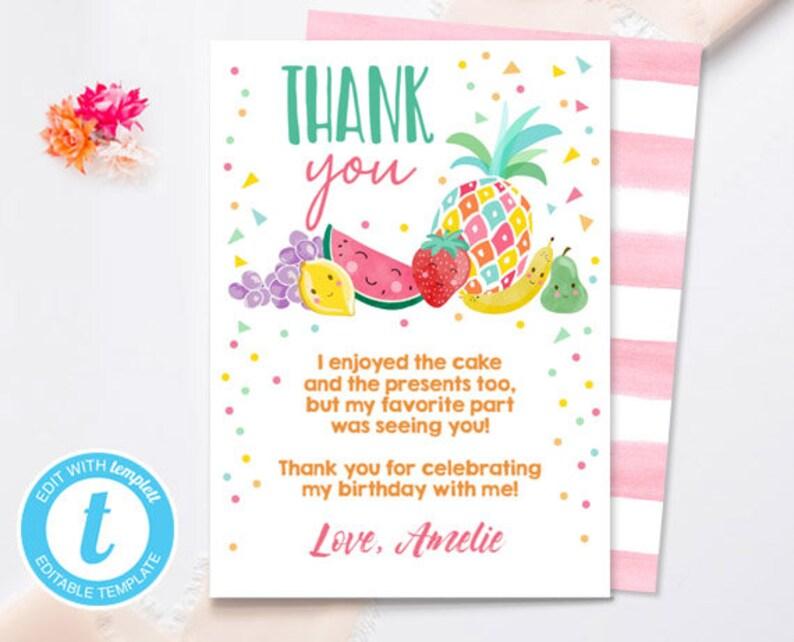 Twotti Frutti Thank You Card Fruit Birthday Tutti Fruity Birthday Girl Summer Fruit Download Printable Template Digital Editable 0139