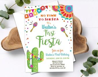 Editable First Fiesta Birthday Invitation Let's Fiesta No Time To Siesta Cactus Mexican Boy Samba Download Printable Corjl Template 0045