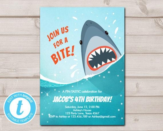 Shark Invit Boy Birthday Attack Take A Bite