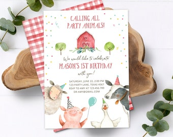 Editable Farm Animals Birthday Invitation Boy Farm Barnyard First Birthday Party Animals Confetti Download Corjl Template Printable 0155