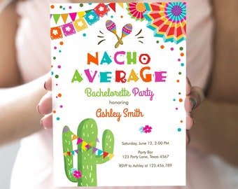 Editable Nacho Average Bachelorette Party Invitation Cactus Pink Let's Fiesta Mexican Bridal Shower Download Digital Corjl Template 0045