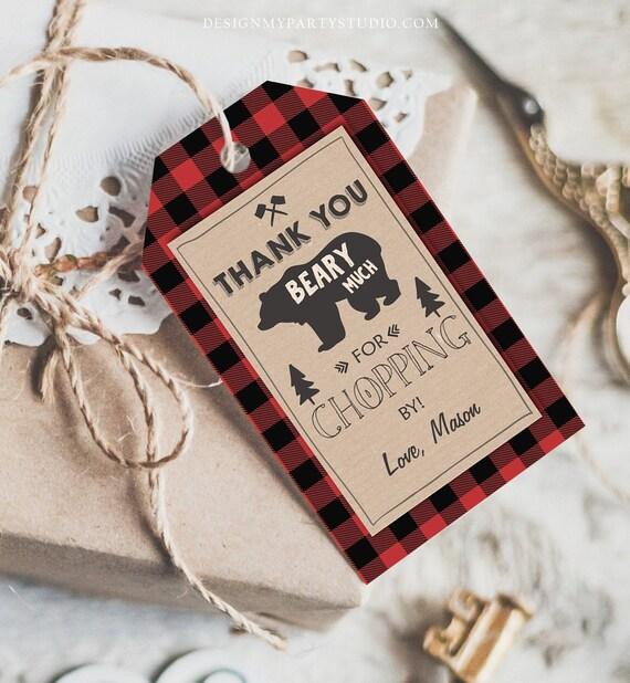 Fall Theme HS Label Lumberjack Baby Shower Favor Label