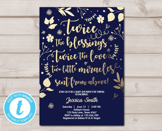 Twin Baby Shower Invitation Twins Gold Navy Blessings Rustic Modern