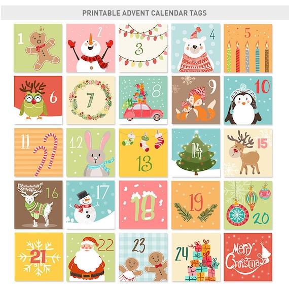 Christmas Advent Calendar Tags Christmas countdown Calendar