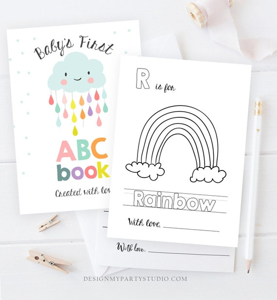ABC Coloring Book Baby Shower Game Shower Activity Baby Book Coloring Pages  Alphabet Flash Cards First ABC Pdf Baby Book PRINTABLE 0036 By Design My  Party Studio Catch My Party