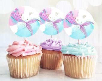 Mermaid Birthday Cupcake Toppers Mermaid Favor Tags Mermaid Birthday Under The Sea Girl Pink Purple Gold Stickers Digital PRINTABLE 0403