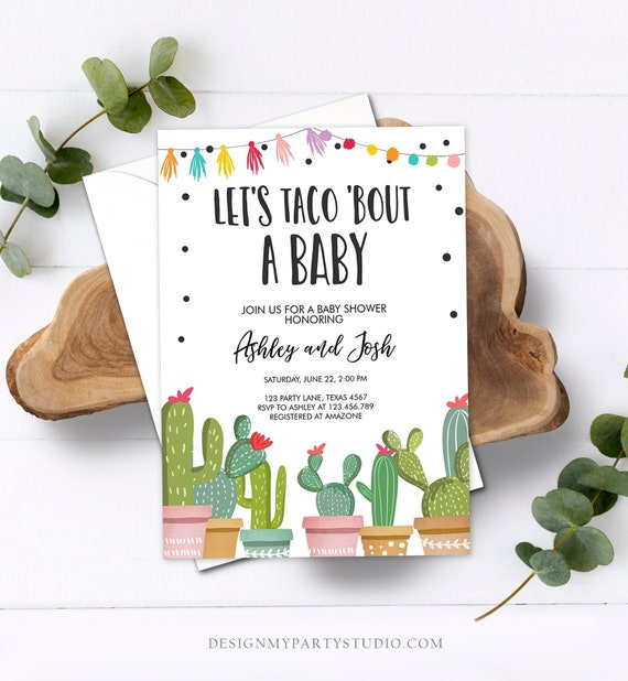 Editable Taco Bout A Baby Shower Invitation Cactus Mexican Fiesta Baby Shower Taco Download Printable Invitation Template Corjl 0254