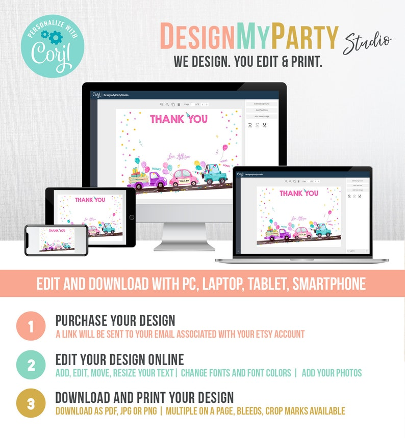 editable drivebirthday parade thank you card virtual