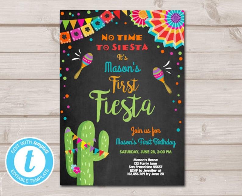 First Fiesta Birthday Invitation Lets No Time To Siesta Cactus Samba Download Printable Template Editable Templett 0045