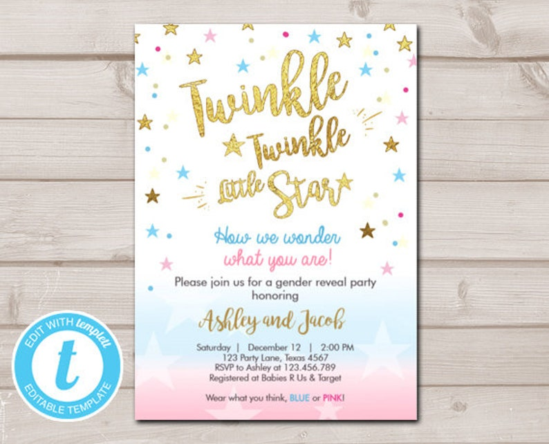 Gender Reveal Invitation Baby Shower Twinkle Blue Or Pink He She Little Star Editable Templett Template Download Digital 0235