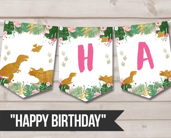 Happy Birthday Banner Girl Dinosaur Birthday Banner Pink Gold Etsy