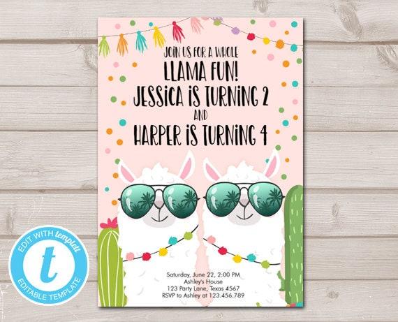 Whole Llama Fun Birthday Invitation Twins Cactus Girls Joint Download Printable Template Editable Templett 0079